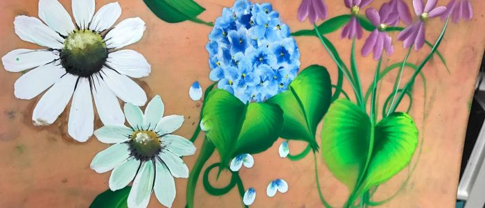 Virágok és levelek, Egy-mozdulat technika az arcfestésben